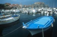 Blue rowboat in the Calvi harbour