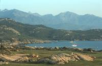 Punta Spano and mountains in the Calvi bay