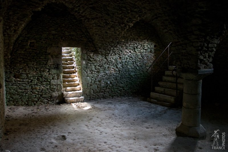 Medieval vaulted cellar in the Blandy les Tours castle