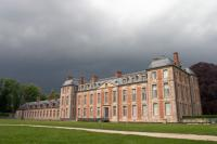 Chamarande castle before a thunderstorm