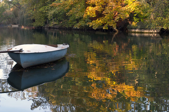 Rowboat with Fall colors