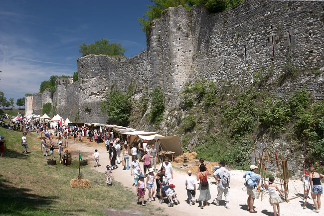 Provins city walls and moat during the medieval festival