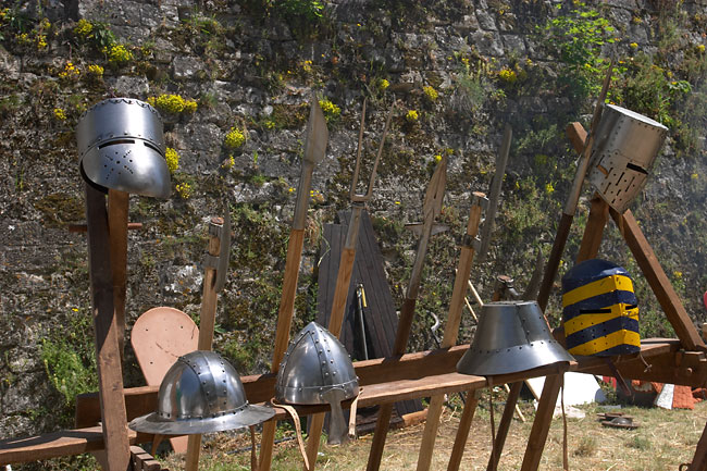 Helmets and polearms ready for the fight