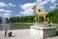 Deer statue and basin