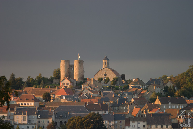 The twin towers and village of Crocq
