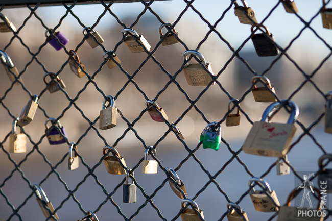 Love padlocks on the bridge of arts