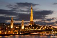 Eiffel Tower and Alexander 3 bridge at sunset