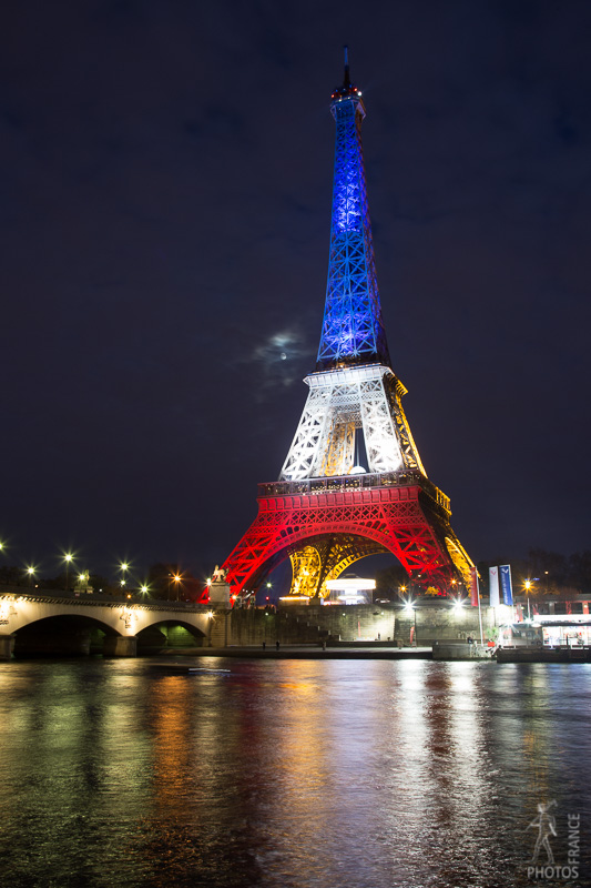 Eiffel tower in blue white and red