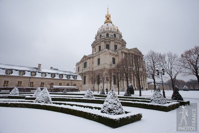 Invalides Gardens in the snow