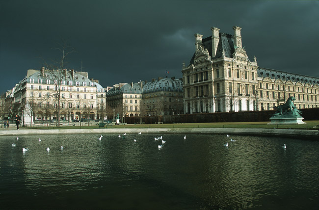 Dark skies over the Louvre