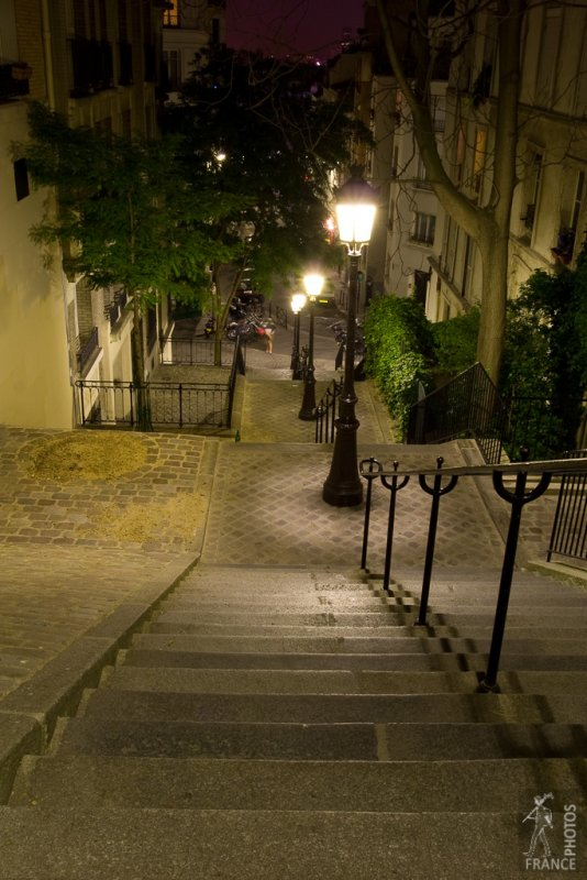 Montmartre stairs at night